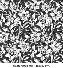 Monochrome botanical seamless pattern with  flowers daffodils, narcissus. Elegant floral outline  hand drawn graphic on black background. For wallpaper, fabrics, decor, textile design.