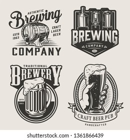 Monochrome brewery vintage emblems with brewing machine wooden cask mug of alcohol drink and male hand holding beer glass isolated vector illustration