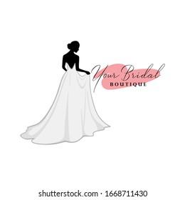 Monochrome Bridal Dress Boutique Logo Ideas, Fashion, Beautiful Bride, Vector Design Template