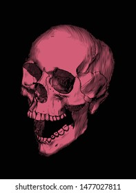 Monochrome bright red engraved drawing human skull open jaw perspective view isolated on black background