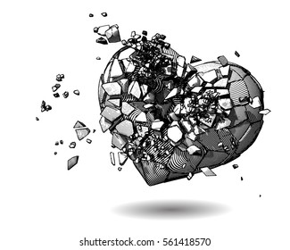 Monochrome broken heart with pen and ink drawing illustration style on white background