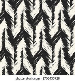 Monochrome Brushed Textured Herringbone Graphic Motif. Seamless Pattern.