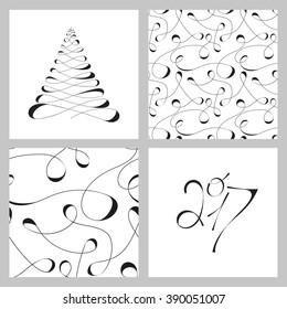 Monochrome calligraphic black and white drawing. Set vector pattern. Vector drawing calligraphic lines. Happy New Year 2017.