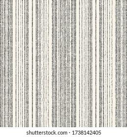Monochrome Canvas Textured Irregularly Striped Background. Seamless Pattern.