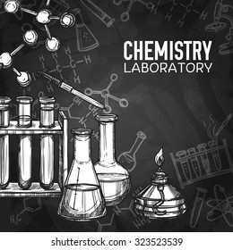 Monochrome chalk draw style sketch of chemistry laboratory equipments on chalkboard background with title vector illustration