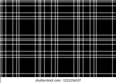 Monochrome check plaid black pixel seamless pattern. Vector illustration.