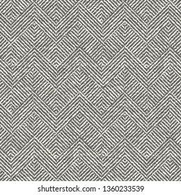 Monochrome Chevron Irregular Dashed Textured Background. Seamless Pattern.