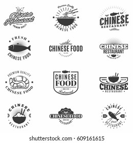 Monochrome Chinese Food Badges Set. Asian cuisine restaurant and bar labels collection. Isolated. Vector.