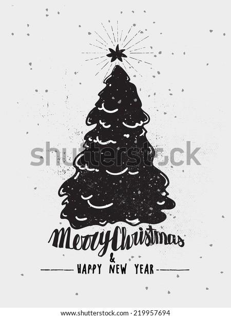Monochrome Christmas Poster Christmas Tree Star Stock Vector
