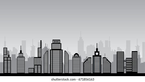 monochrome cityscape  vector illustration of modern city and buildings