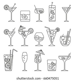 Monochrome cocktails set: thin monochrome icons set, black and white kit