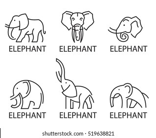 Monochrome collection of elephant logos. Vector illustration
