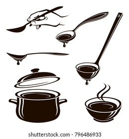 monochrome collection of plate of soup, spoon, ladle and pan