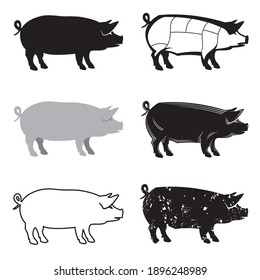 monochrome collection with silhouettes of pig isolated on white background
