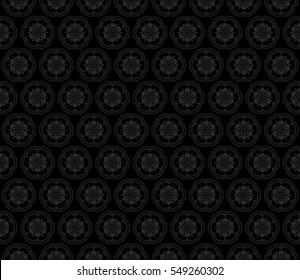 monochrome color fantasy geometry pattern. floral theme. vector seamless illustration. for design, wallpaper, card, invitation