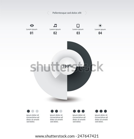 Monochrome Color Pie Chart Circle Graph Stock Vector Royalty Free