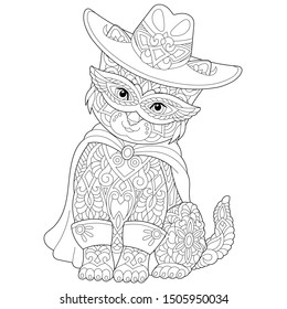 Monochrome colouring picture with cute cat in masquerade costume. Freehand coloring page with doodle and zentangle elements.