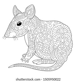 Monochrome colouring picture with mouse. Rat is 2020 year symbol in Chinese zodiac calendar. Freehand coloring page with doodle and zentangle elements.