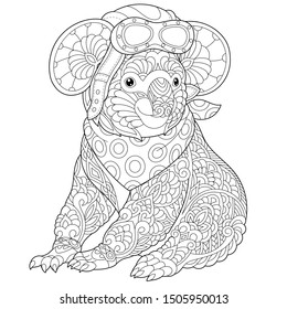 Monochrome colouring picture with retro pilot koala bear. Freehand coloring page with doodle and zentangle elements.