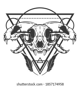 Monochrome composition with sacred geometry forms and cat skull. Vintage design concept isolated on white background. Modern vector illustration.
