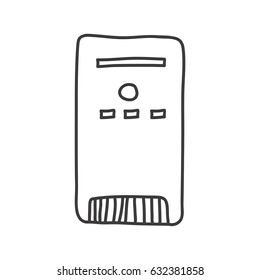 monochrome contour of desktop tower computer vector illustration
