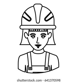 monochrome contour half body of female worker with helmet vector illustration