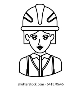 monochrome contour half body of female architect with helmet vector illustration