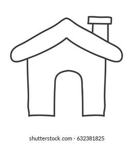 monochrome contour of house icon vector illustration