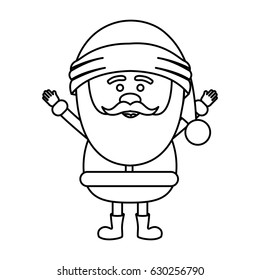 monochrome contour of santa claus with open arms vector illustration