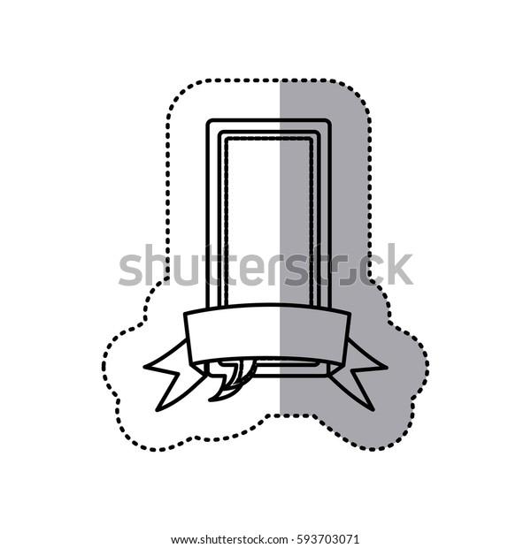 monochrome contour sticker of large rectangle dialog box design with ribbon vector illustration