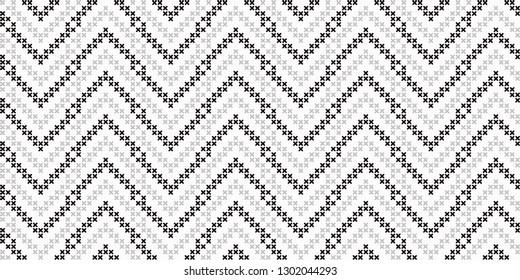 Monochrome cross stitch herring bone ornament. Allover vector pattern for fabric, apparel textile, interior design, linen napkin, kitchen tablecloth. Exotic Nordic native motif in black, white colours