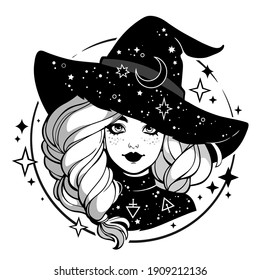 monochrome cute witch wearing hat with stars