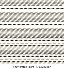 Monochrome Dashed Textured Irregulary-Sized Striped Background. Seamless Pattern.