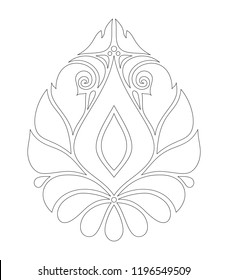 Monochrome Decorative Damask Design Element. Ethnic Abstract Symmetrical Object. Floral Motifs, Indian, Turkish, Paisley Garden Style. Simple Coloring Book Page. Vector Contour Illustration