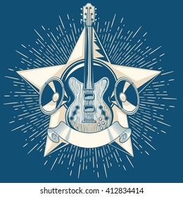 Monochrome decorative guitar emblem
