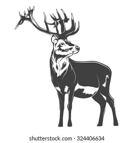 Monochrome deer on a white background. Vector EPS8 illustration.