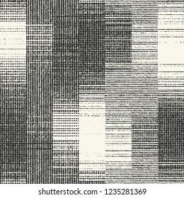 Monochrome Degrade Effect Block Textured Graphic Motif. Seamless Pattern.