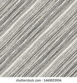 Monochrome Diagonal Grain Stroke Canvas Textured Background. Seamless Pattern.