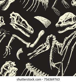 Monochrome Dinosaurs Fossil Seamless Pattern. Vector Wallpaper