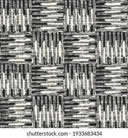 Monochrome Distressed Canvas Textured Checked Seamless Pattern