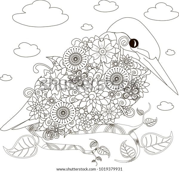 фотообои слон цветы раскраски анти стресс страницы векторные иллюстрации 40593 Zakazposterov Ru