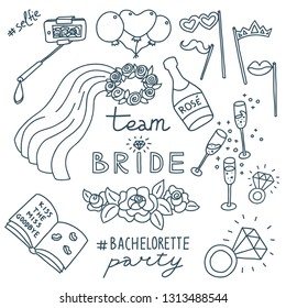 Monochrome doodle illustration of bachelorette party decorations. Selfie stick,  ballons, props, veil, champagne, diamond rings, roses, signing book with lip marks. Hashtags and Team Bride lettering.