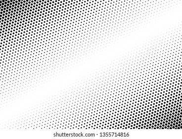 Monochrome Dots Background. Gradient Abstract Overlay. Grunge Backdrop. Fade Halftone Pattern. Vector illustration