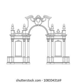 Monochrome drawing, architecture sketch in black outline on white background