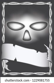 monochrome drawing in Gothic style, cover, poster, print. creepy Face with empty eye sockets on black background with interlacing ornament and ribbon for text
