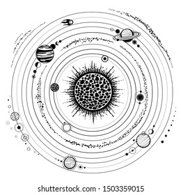 Monochrome drawing: stylized Solar system, orbits, planets, space structure.  Vector Illustration isolated on a white background. Print, poster, T-shirt, postcard.