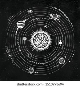 Monochrome drawing: stylized Solar system, orbits, planets, space structure. Background - black star sky. Vector illustration. Print, poster, T-shirt, card.