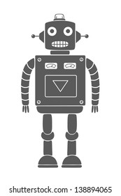 Monochrome drawing of a vintage toy robot. Isolated object. Vector illustration.