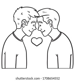 monochrome drawings of two young men who look each other in love. gay, tolerance, outline, comic.