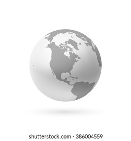 Monochrome earth icon isolated on white background. Vector illustration.